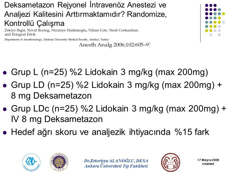 Grup L (n=25) %2 Lidokain 3 mg/kg (max 200mg)