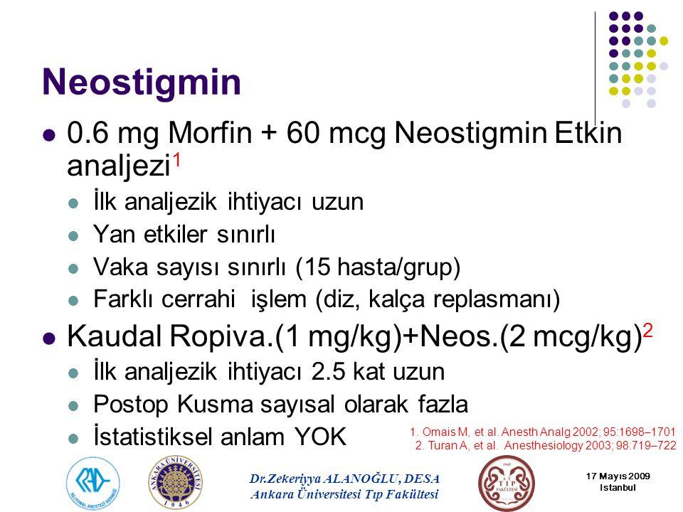 Neostigmin 0.6 mg Morfin + 60 mcg Neostigmin Etkin analjezi1