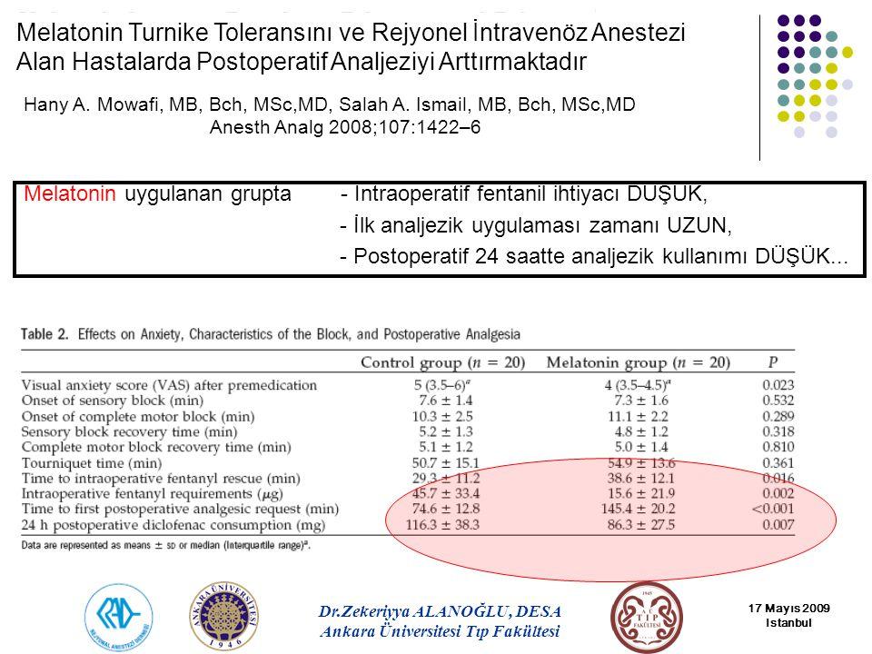 Melatonin Turnike Toleransını ve Rejyonel İntravenöz Anestezi Alan Hastalarda Postoperatif Analjeziyi Arttırmaktadır