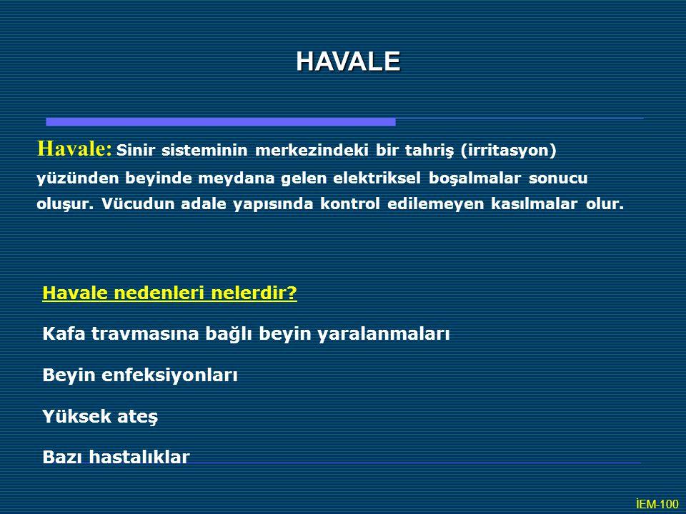 HAVALE Havale: Sinir sisteminin merkezindeki bir tahriş (irritasyon)