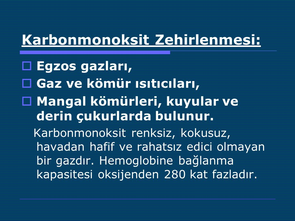 Karbonmonoksit Zehirlenmesi: