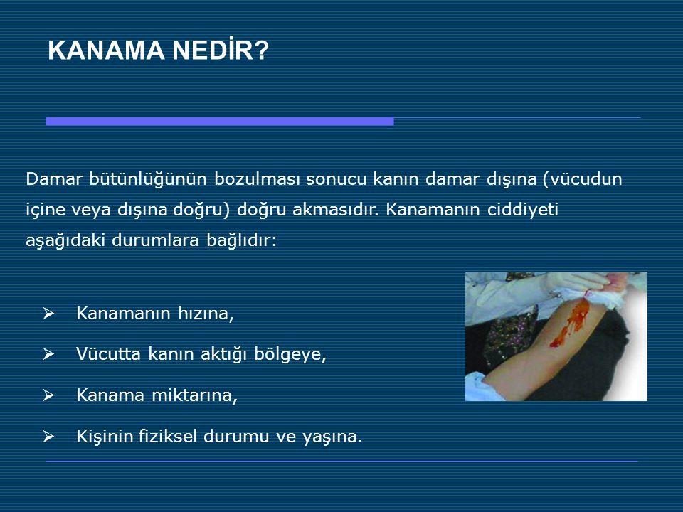 KANAMA NEDİR Damar bütünlüğünün bozulması sonucu kanın damar dışına (vücudun. içine veya dışına doğru) doğru akmasıdır. Kanamanın ciddiyeti.