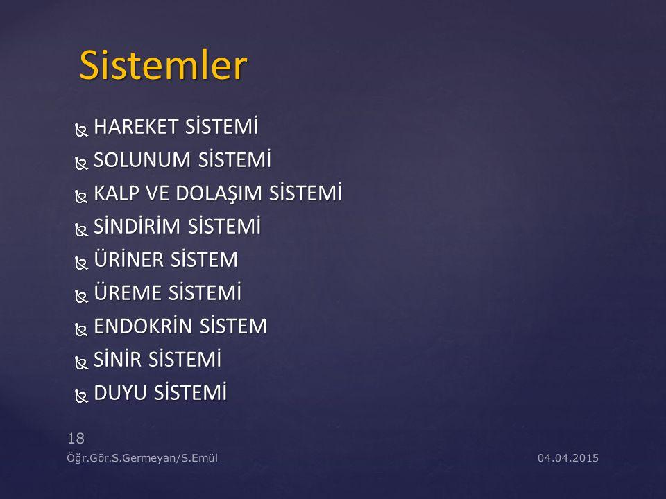 Sistemler HAREKET SİSTEMİ SOLUNUM SİSTEMİ KALP VE DOLAŞIM SİSTEMİ