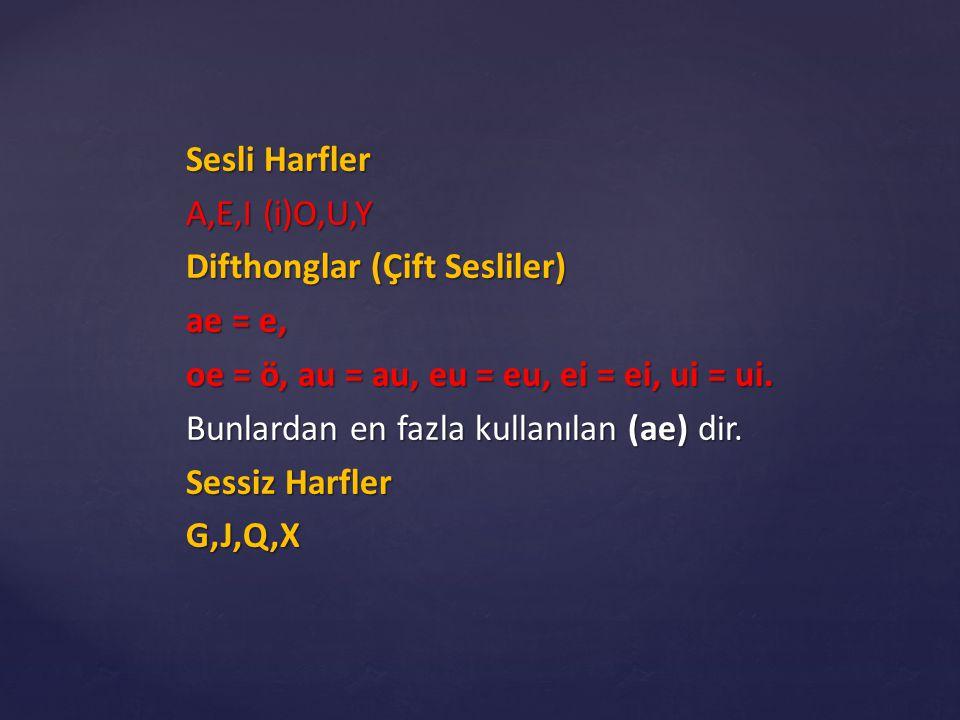 Sesli Harfler A,E,I (i)O,U,Y. Difthonglar (Çift Sesliler) ae = e, oe = ö, au = au, eu = eu, ei = ei, ui = ui.