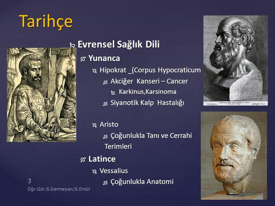 Tarihçe Evrensel Sağlık Dili Yunanca Latince