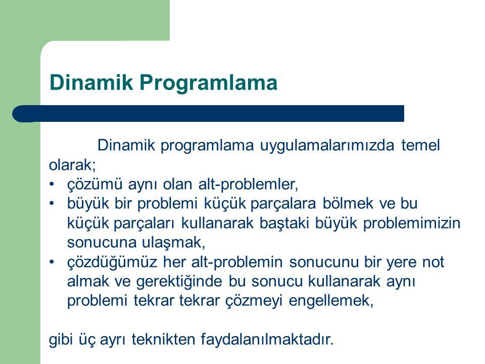 Dinamik Programlama Dinamik programlama uygulamalarımızda temel olarak; çözümü aynı olan alt-problemler,