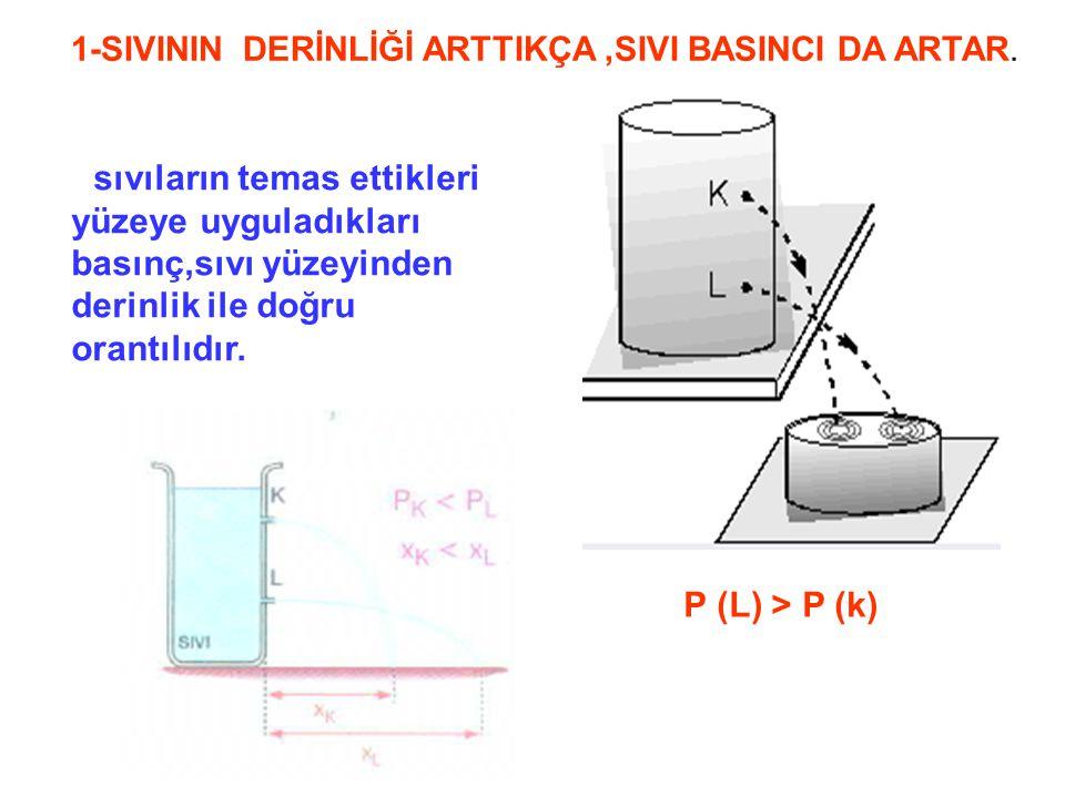 P (L) > P (k) 1-SIVININ DERİNLİĞİ ARTTIKÇA ,SIVI BASINCI DA ARTAR.