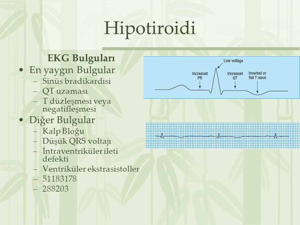 Hipotiroidi EKG Bulguları En yaygın Bulgular Diğer Bulgular