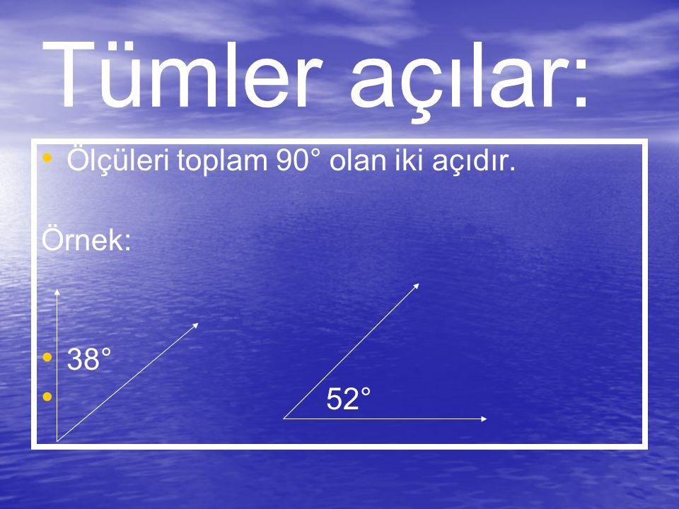 Tümler açılar: Ölçüleri toplam 90° olan iki açıdır. Örnek: 38° 52°