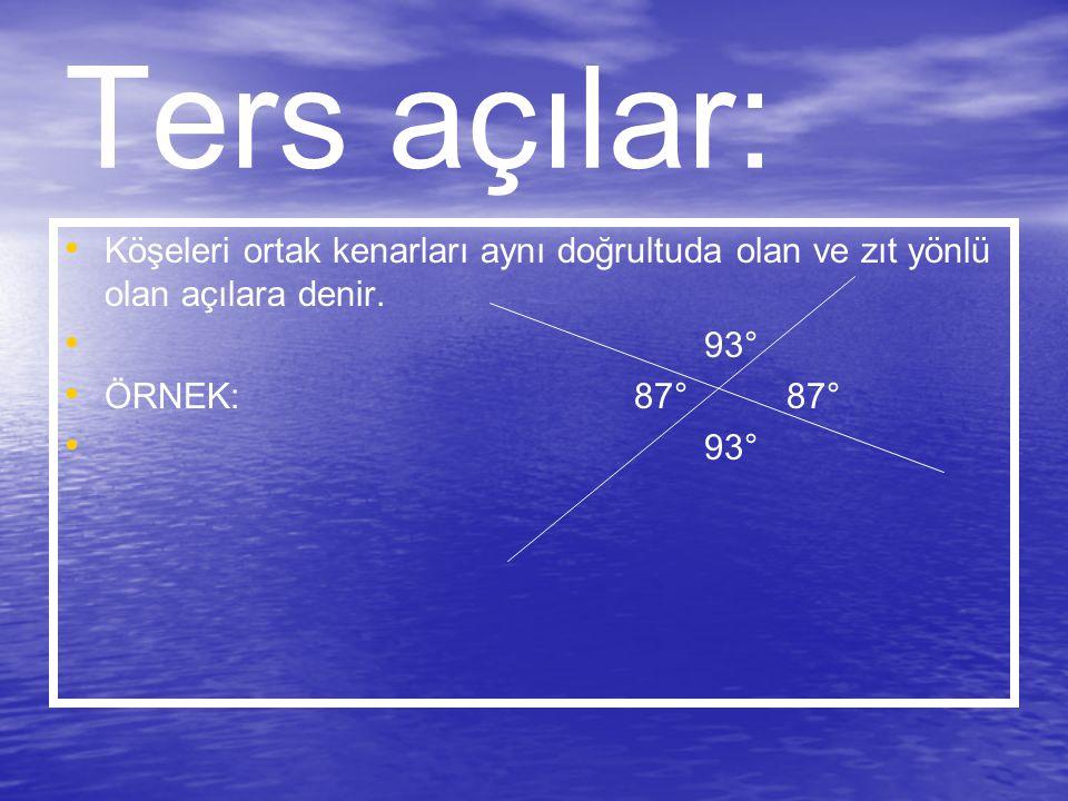 Ters açılar: Köşeleri ortak kenarları aynı doğrultuda olan ve zıt yönlü olan açılara denir. 93°