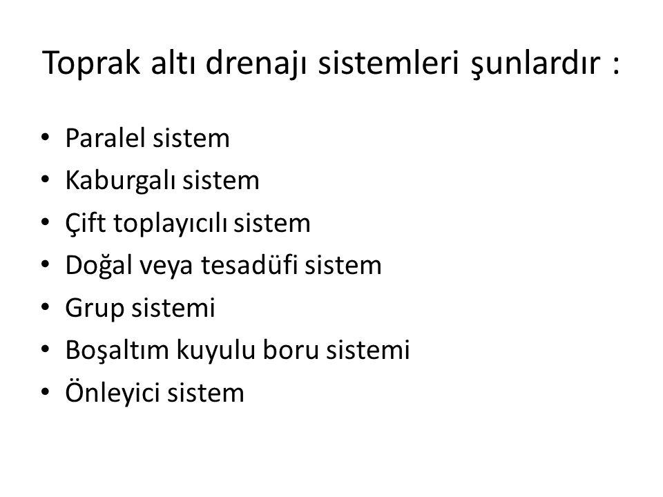 Toprak altı drenajı sistemleri şunlardır :