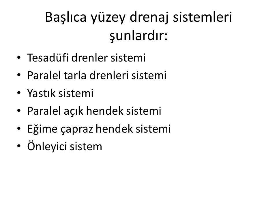Başlıca yüzey drenaj sistemleri şunlardır: