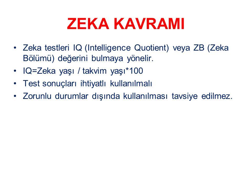 ZEKA KAVRAMI Zeka testleri IQ (Intelligence Quotient) veya ZB (Zeka Bölümü) değerini bulmaya yönelir.
