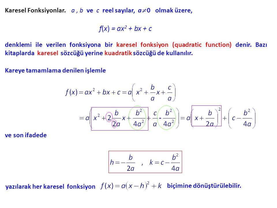 Karesel Fonksiyonlar. a , b ve c reel sayılar, a 0 olmak üzere,