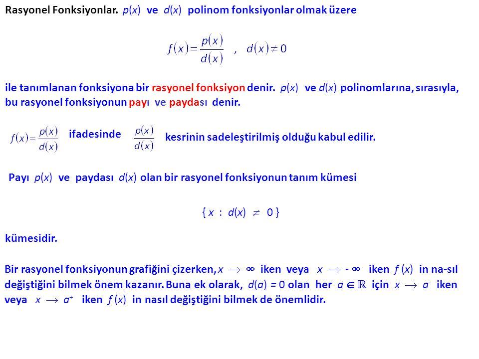 Rasyonel Fonksiyonlar. p(x) ve d(x) polinom fonksiyonlar olmak üzere