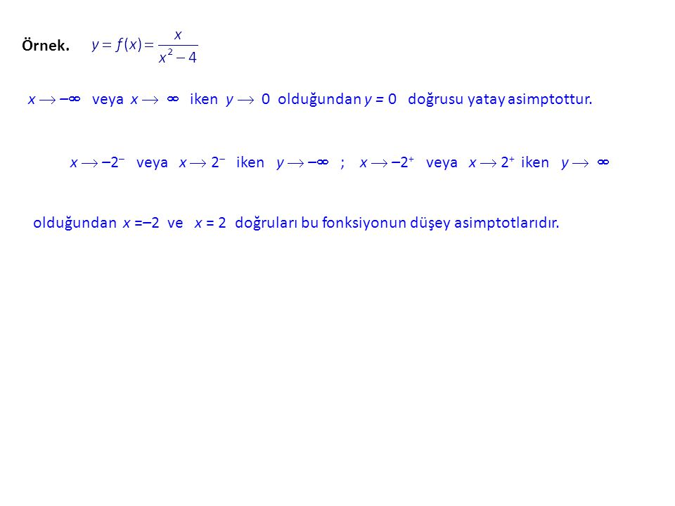 x  –2– veya x  2– iken y  – ; x  –2+ veya x  2+ iken y  