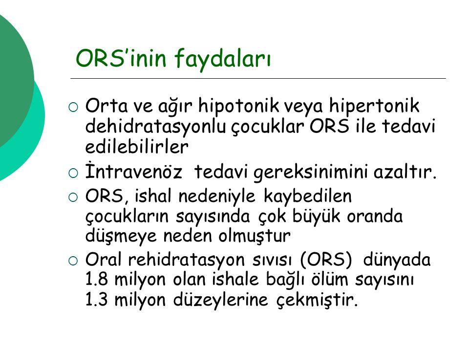 ORS'inin faydaları Orta ve ağır hipotonik veya hipertonik dehidratasyonlu çocuklar ORS ile tedavi edilebilirler.