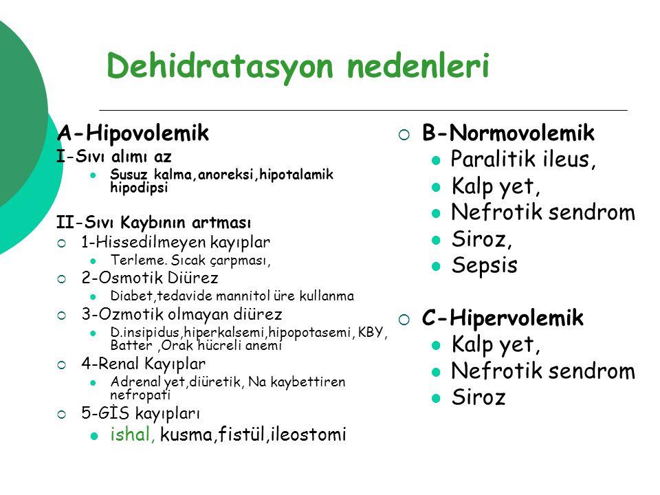 Dehidratasyon nedenleri