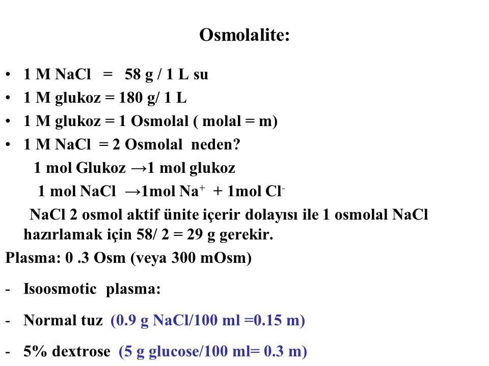 Osmolalite: 1 M NaCl = 58 g / 1 L su 1 M glukoz = 180 g/ 1 L