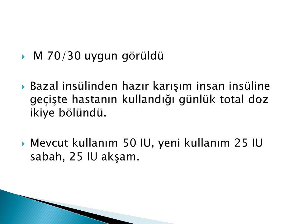 M 70/30 uygun görüldü Bazal insülinden hazır karışım insan insüline geçişte hastanın kullandığı günlük total doz ikiye bölündü.