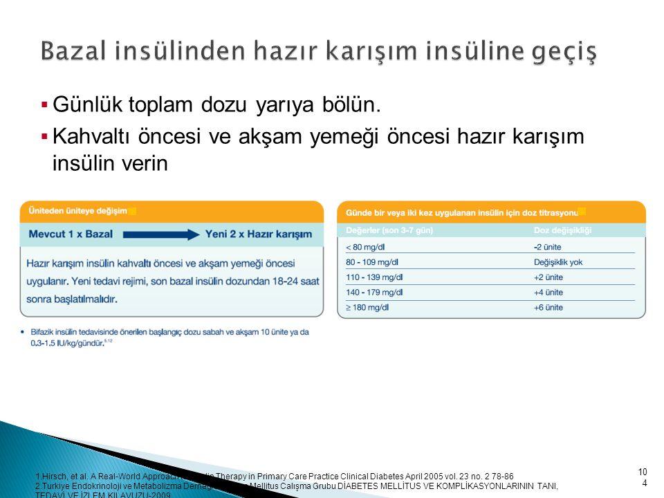 Bazal insülinden hazır karışım insüline geçiş