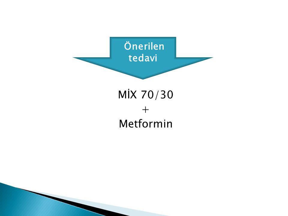 Önerilen tedavi MİX 70/30 + Metformin