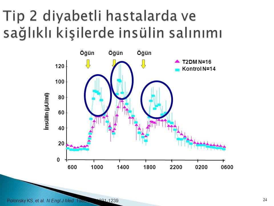Tip 2 diyabetli hastalarda ve sağlıklı kişilerde insülin salınımı