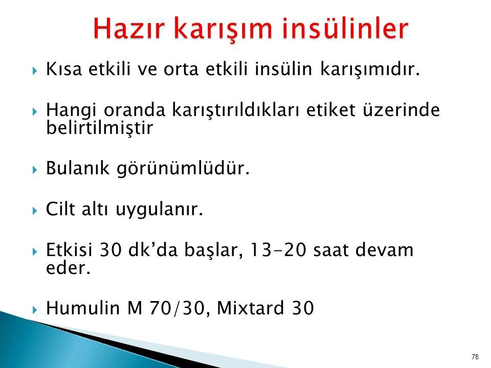 Hazır karışım insülinler