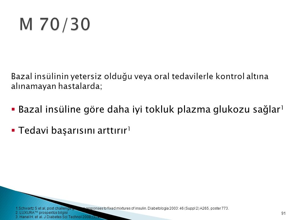 M 70/30 Bazal insüline göre daha iyi tokluk plazma glukozu sağlar1