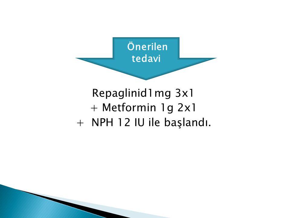 Repaglinid1mg 3x1 + Metformin 1g 2x1 + NPH 12 IU ile başlandı.