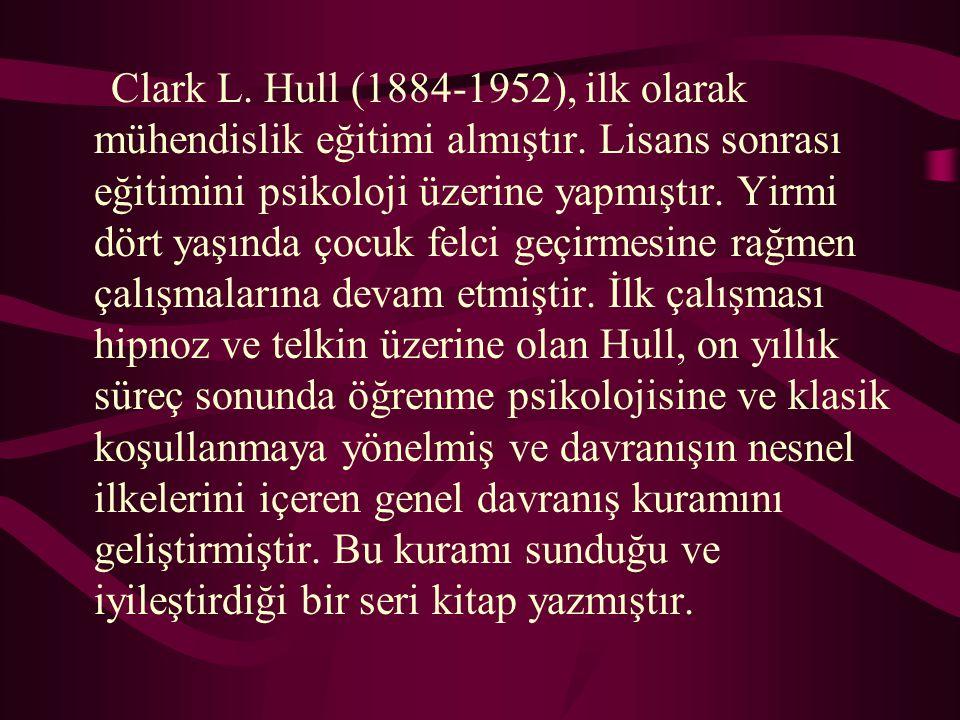 Clark L. Hull (1884-1952), ilk olarak mühendislik eğitimi almıştır