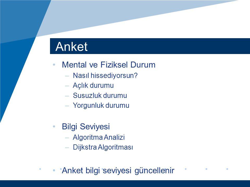 Anket Mental ve Fiziksel Durum Bilgi Seviyesi