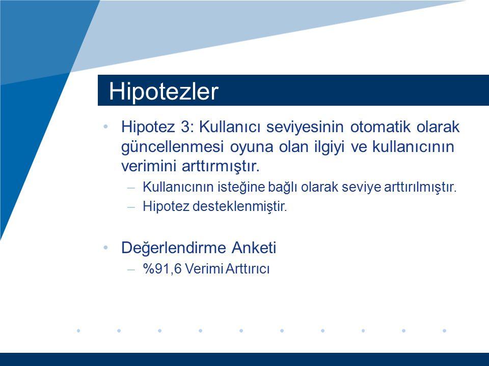 Hipotezler Hipotez 3: Kullanıcı seviyesinin otomatik olarak güncellenmesi oyuna olan ilgiyi ve kullanıcının verimini arttırmıştır.