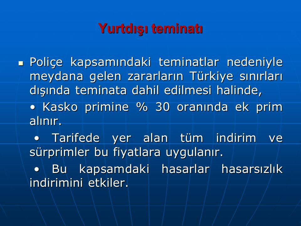 Yurtdışı teminatı Poliçe kapsamındaki teminatlar nedeniyle meydana gelen zararların Türkiye sınırları dışında teminata dahil edilmesi halinde,