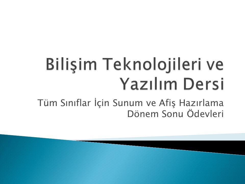Bilişim Teknolojileri ve Yazılım Dersi