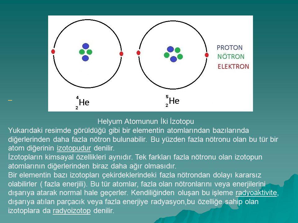 Helyum Atomunun İki İzotopu.