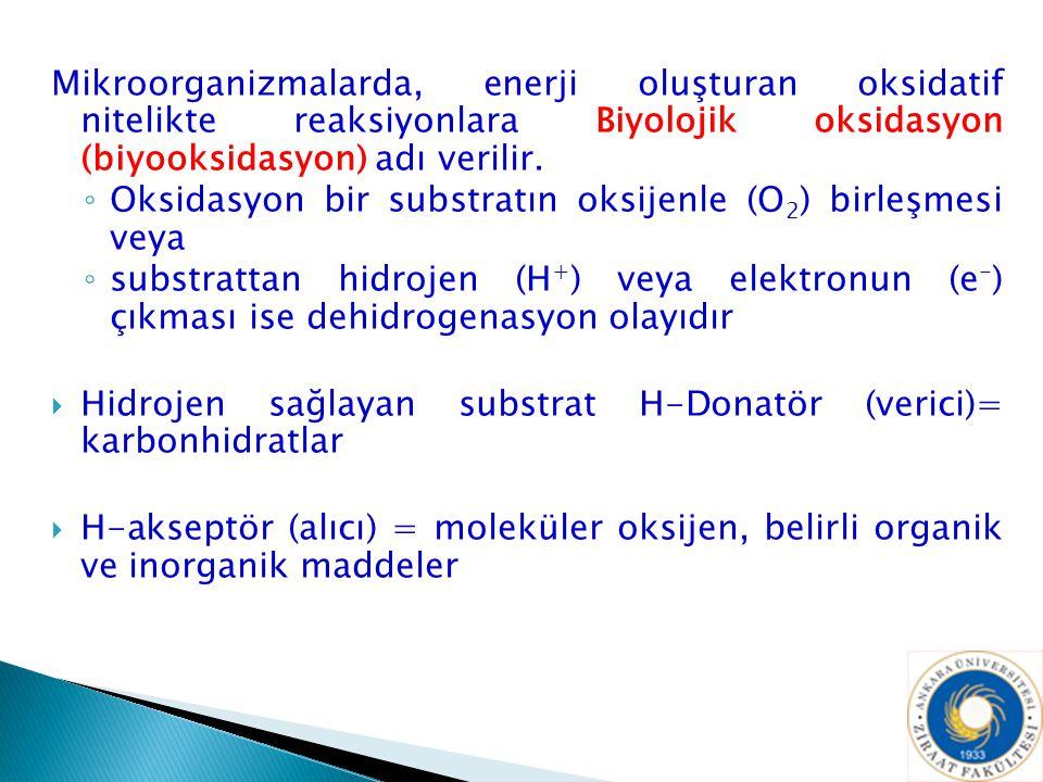Mikroorganizmalarda, enerji oluşturan oksidatif nitelikte reaksiyonlara Biyolojik oksidasyon (biyooksidasyon) adı verilir.