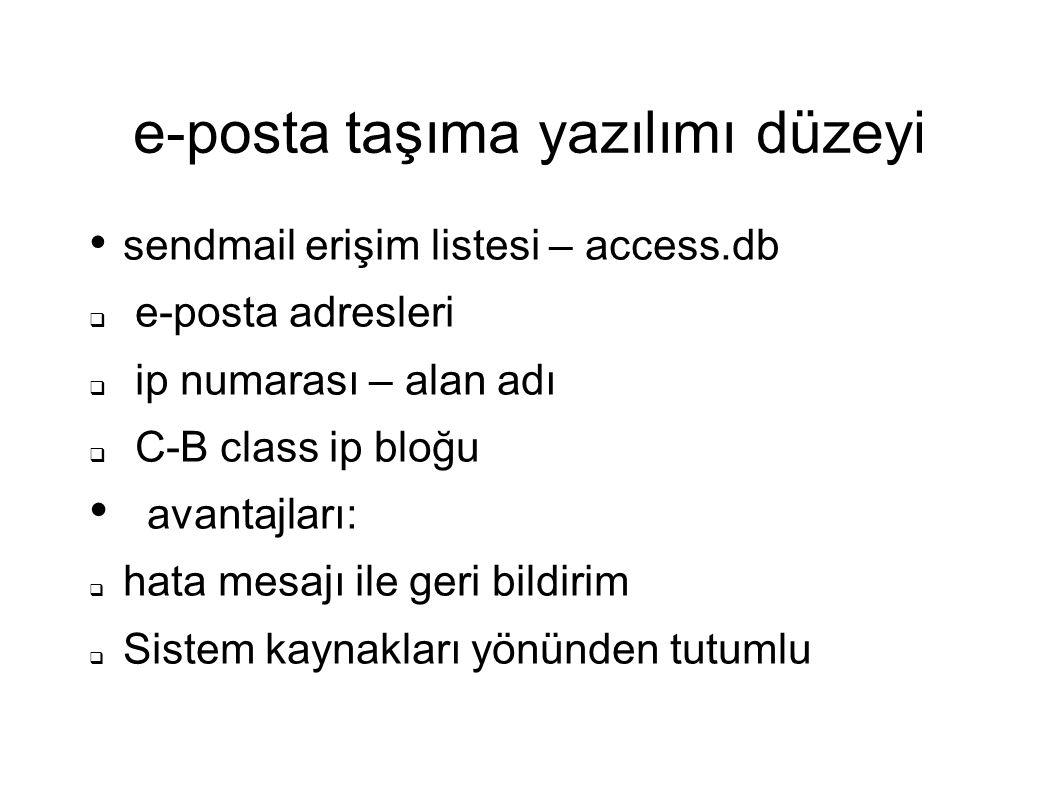 e-posta taşıma yazılımı düzeyi