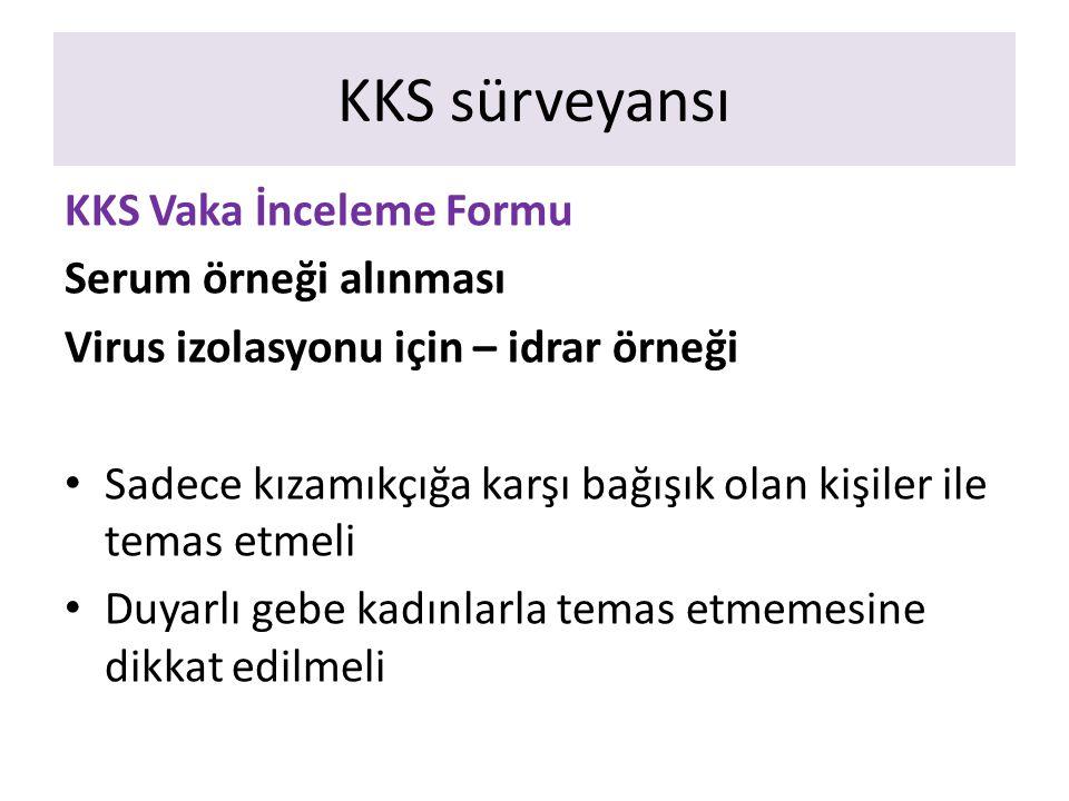 KKS sürveyansı KKS Vaka İnceleme Formu Serum örneği alınması