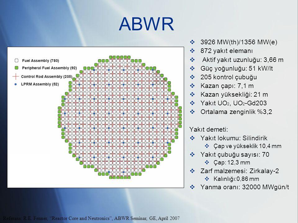 ABWR 3926 MW(th)/1356 MW(e) 872 yakıt elemanı