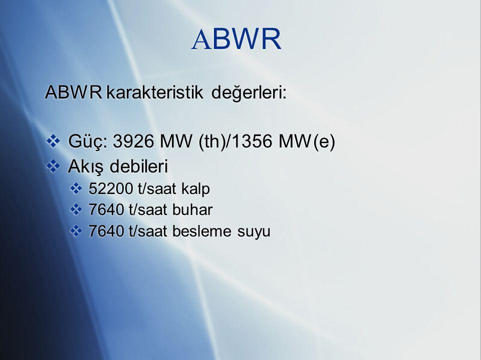 ABWR ABWR karakteristik değerleri: Güç: 3926 MW (th)/1356 MW(e)