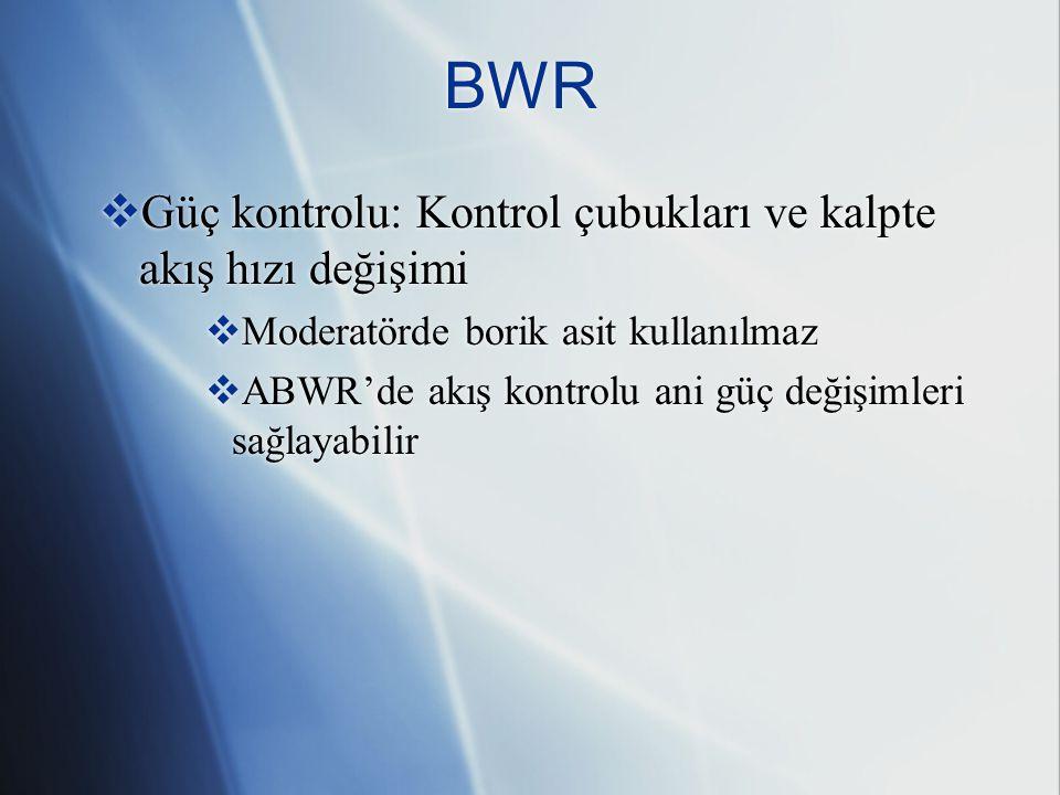 BWR Güç kontrolu: Kontrol çubukları ve kalpte akış hızı değişimi