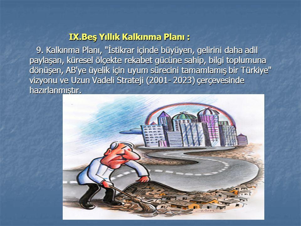 IX.Beş Yıllık Kalkınma Planı :