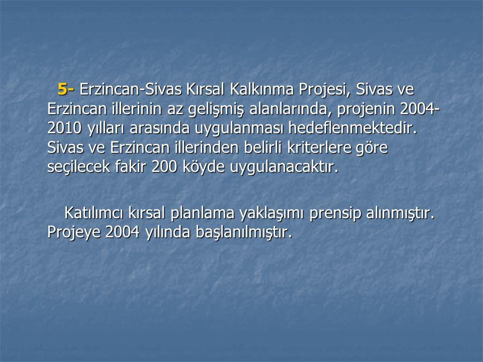 5- Erzincan-Sivas Kırsal Kalkınma Projesi, Sivas ve Erzincan illerinin az gelişmiş alanlarında, projenin 2004-2010 yılları arasında uygulanması hedeflenmektedir. Sivas ve Erzincan illerinden belirli kriterlere göre seçilecek fakir 200 köyde uygulanacaktır.