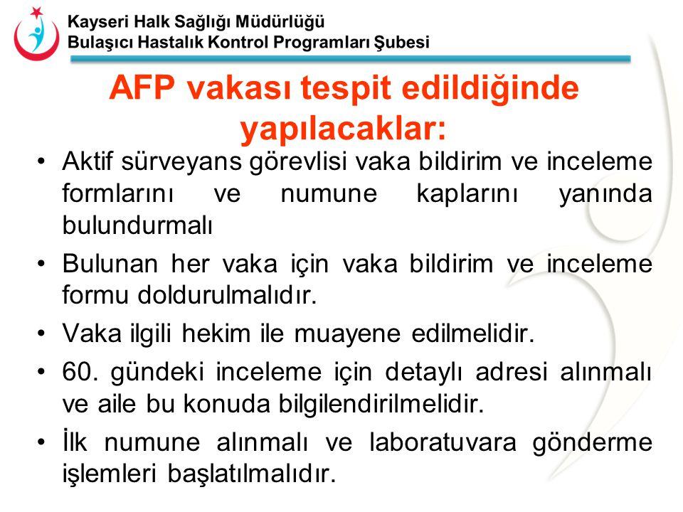 AFP vakası tespit edildiğinde yapılacaklar: