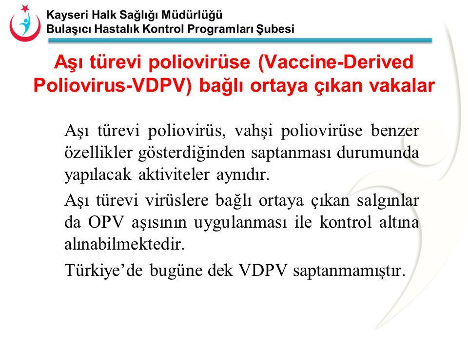 Aşı türevi poliovirüse (Vaccine-Derived Poliovirus-VDPV) bağlı ortaya çıkan vakalar