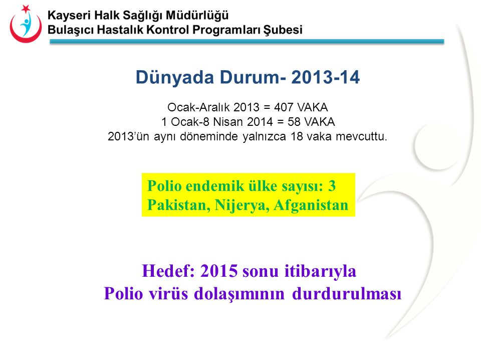 Hedef: 2015 sonu itibarıyla Polio virüs dolaşımının durdurulması