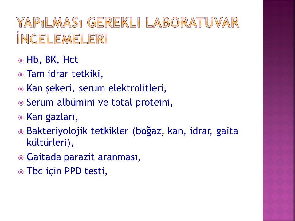 Yapılması Gerekli Laboratuvar İncelemeleri
