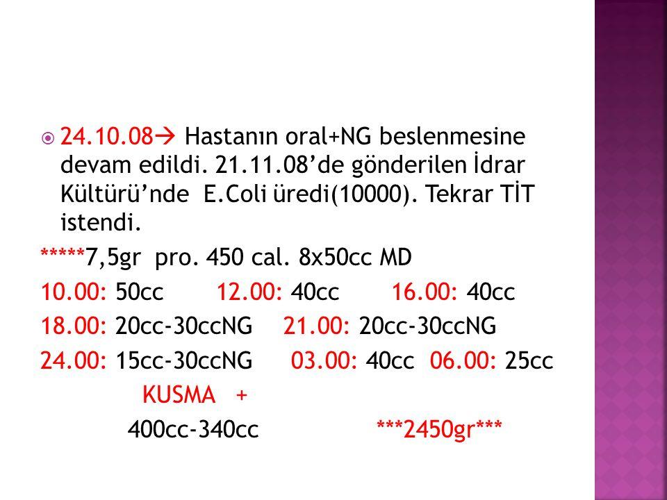 24. 10. 08 Hastanın oral+NG beslenmesine devam edildi. 21. 11