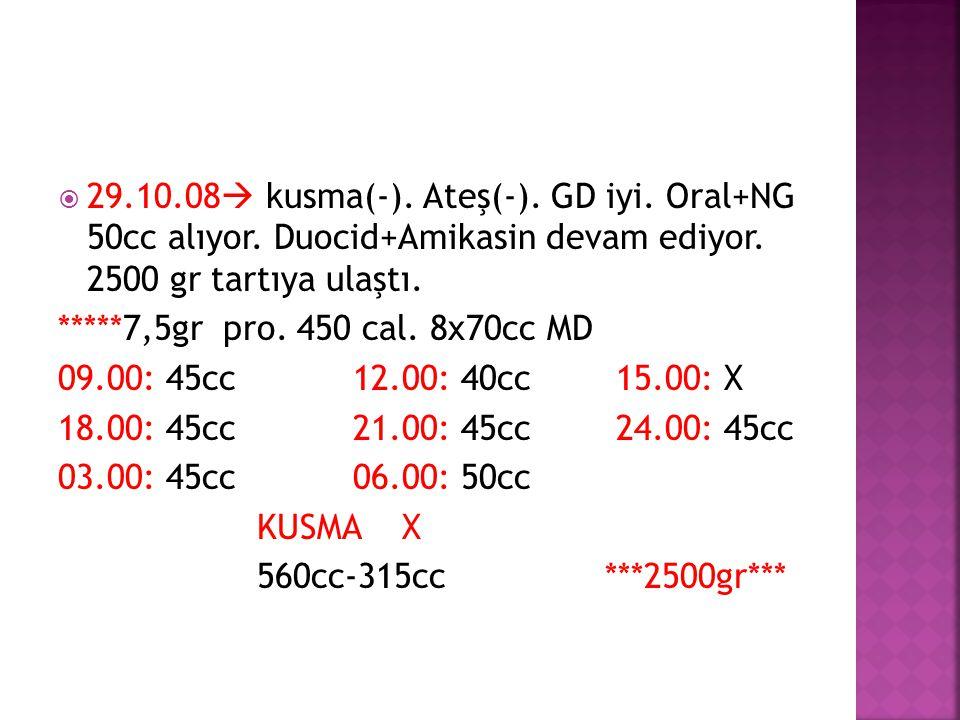 29. 10. 08 kusma(-). Ateş(-). GD iyi. Oral+NG 50cc alıyor